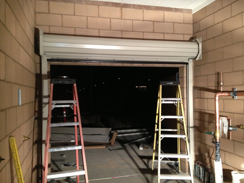 overhead door rolled up inside view