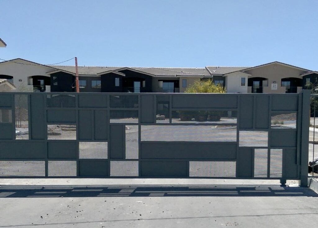 Slate gray Security Gate with rectangular geometric design